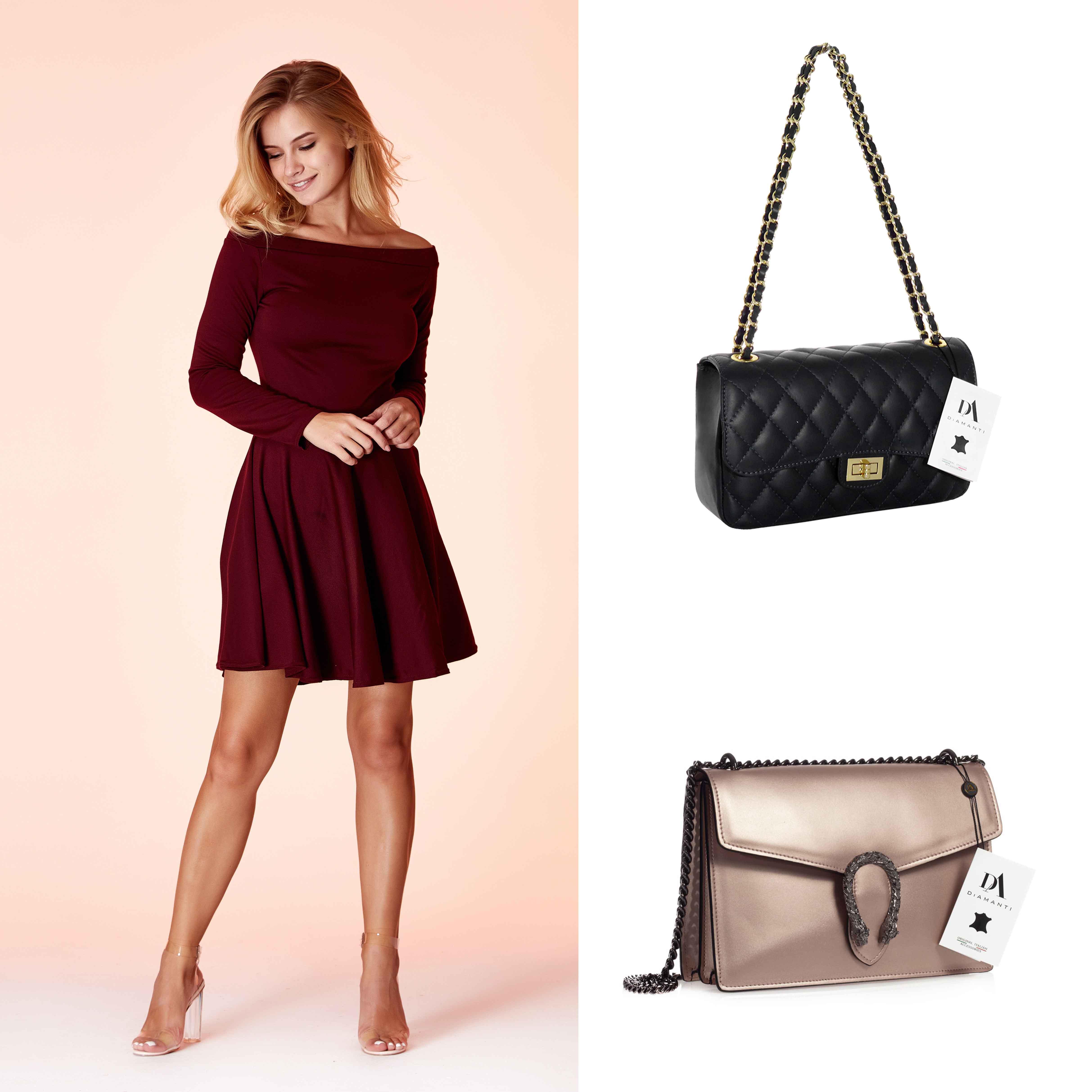 model cu rochie bordo scurta, geanta Bra si geanta Editta