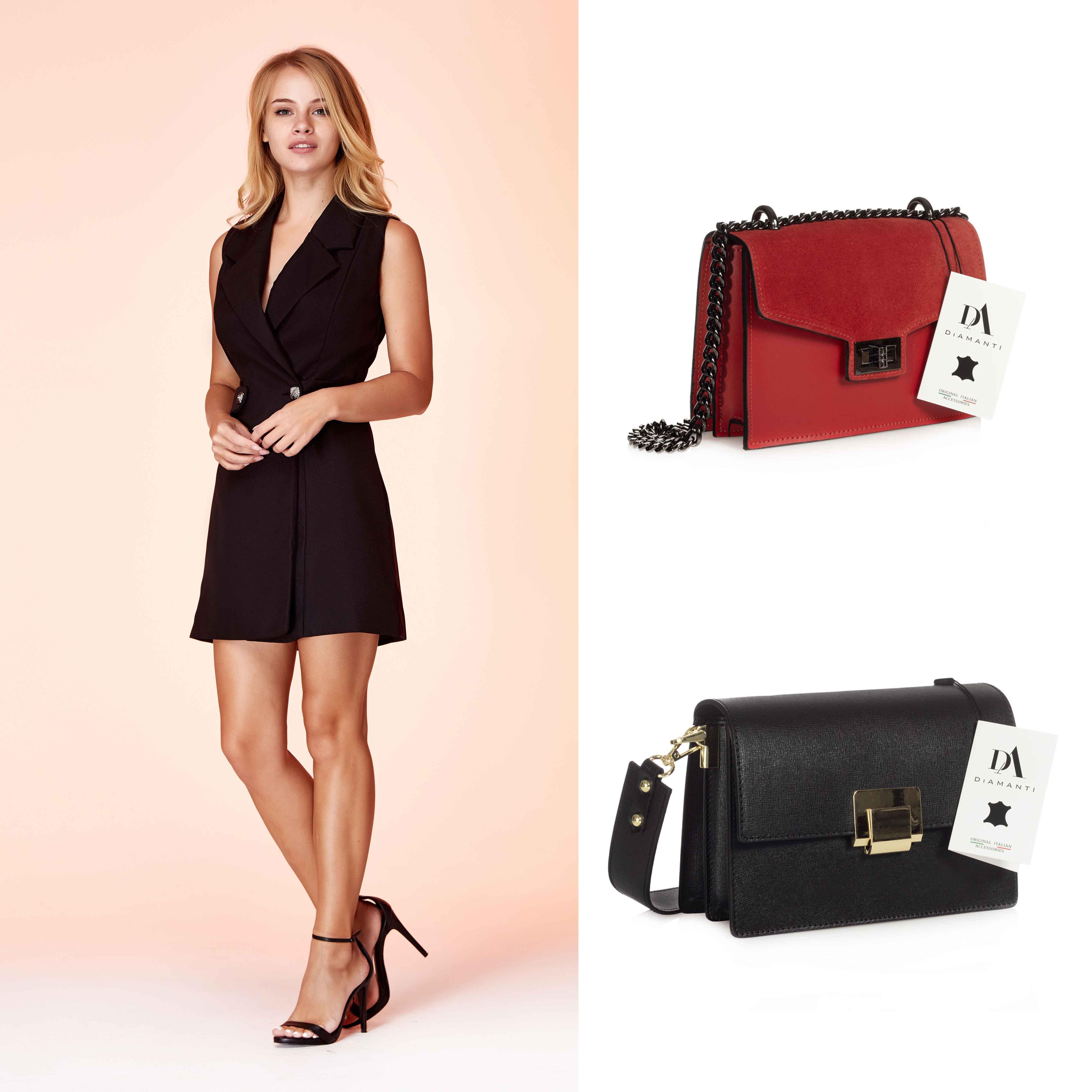 model cu rochie neagra scurta, geanta Asti si geanta Sara
