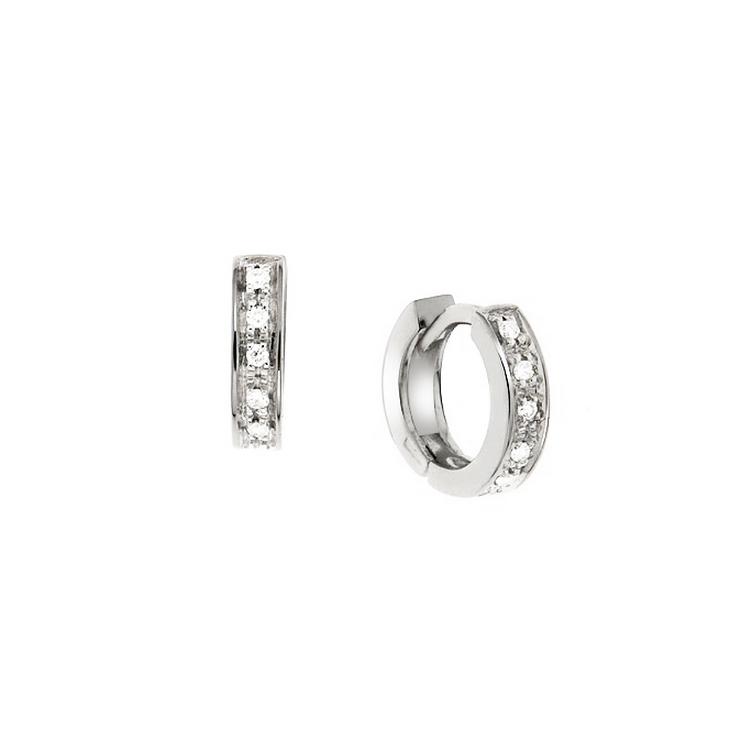 Cercei din aur alb 18K cu diamante 0,08 ct, model Orsini 00039BL