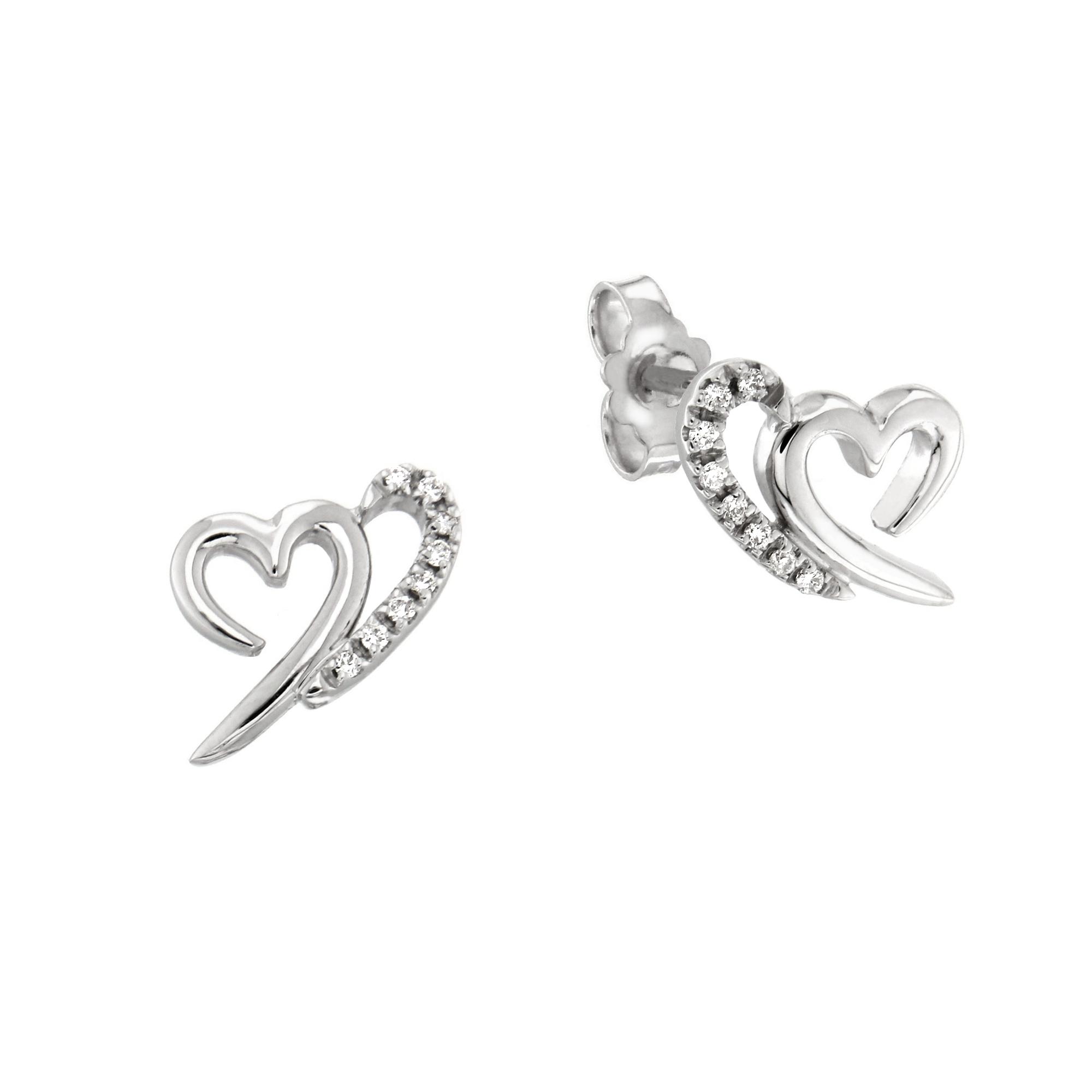 Cercei din aur alb 18K in forma de inima cu diamante 0,08 ct, model Orsini 00205BL