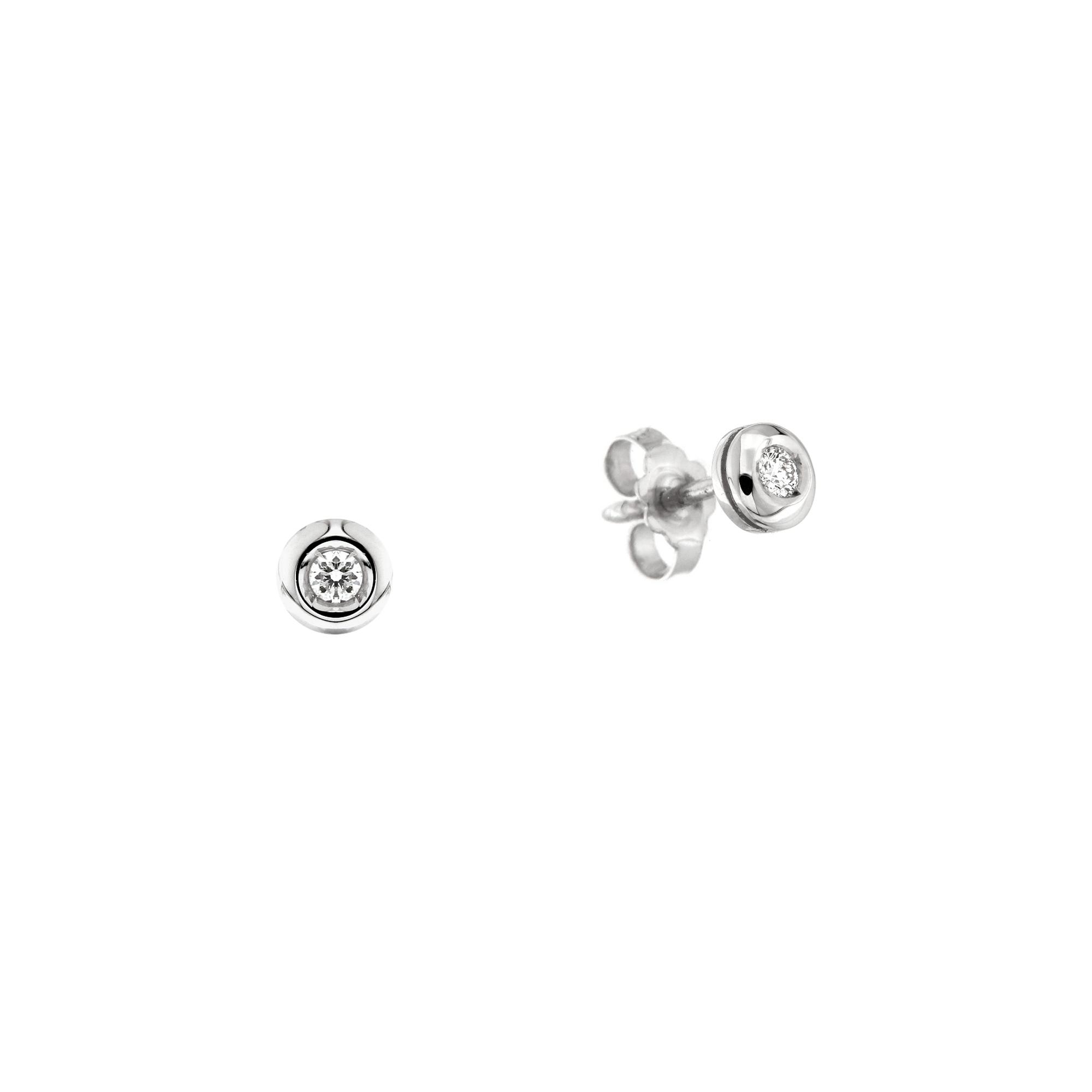 Cercei din aur alb 18K cu diamante 0,12 ct, model Orsini 00255BL-12
