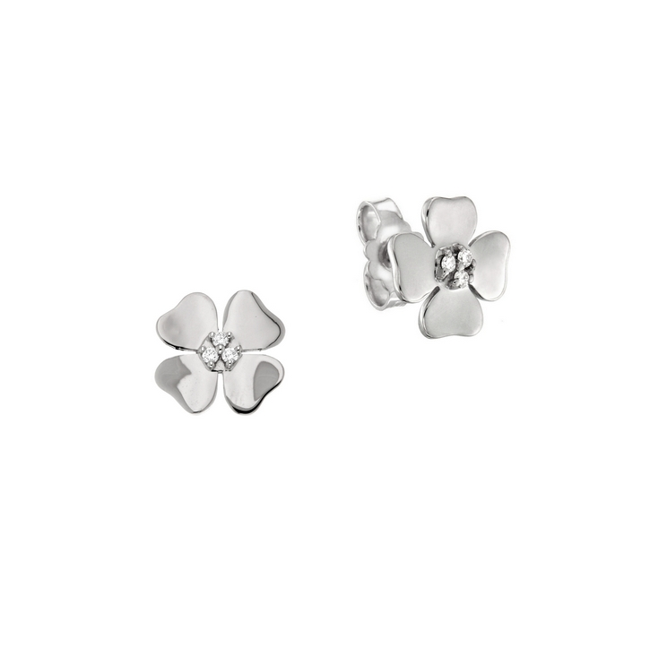 Cercei din aur alb 18K in forma de trifoi cu patru foi cu diamante 0,06 ct, model Orsini 00259BL