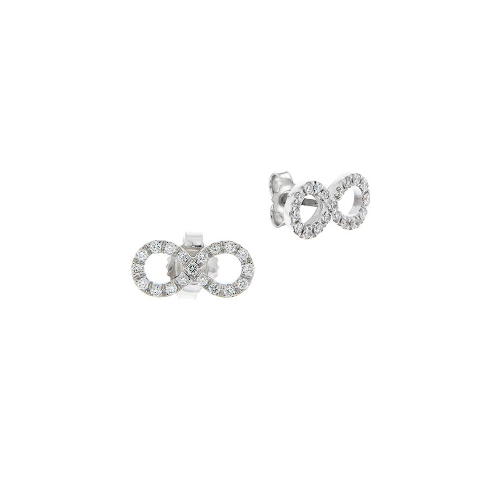 Cercei din aur alb 18K in forma infinit cu diamante 0,19 ct, model Orsini 00260BL