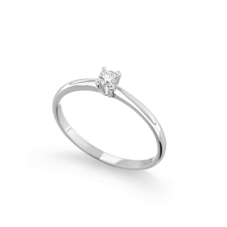 Inel de logodna din aur alb 18K cu diamant 0,10 ct, model Orsini 01012-10