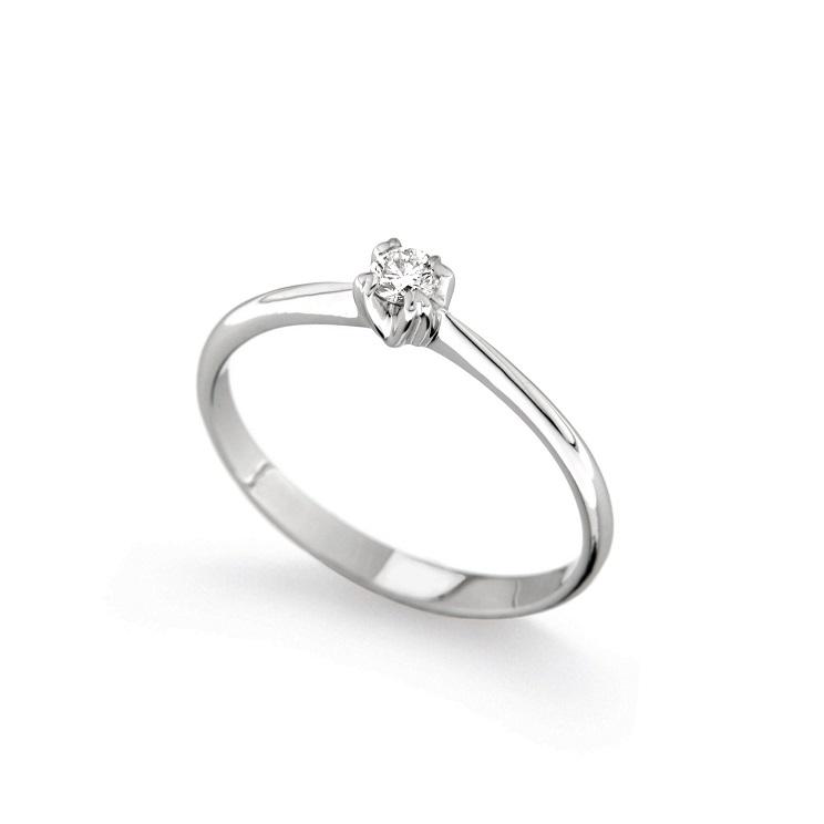 Inel de logodna din aur alb 18K cu diamant 0,10 ct, model Orsini 01016-10
