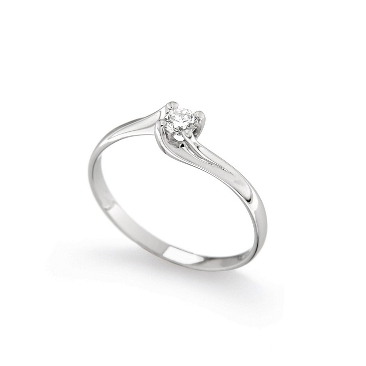 Inel de logodna din aur alb 18K cu diamant 0,20 ct, model Orsini 01027-20