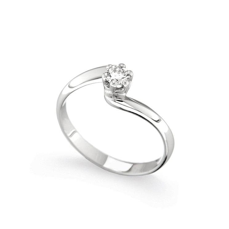 Inel de logodna din aur alb 18K cu diamant 0,20 ct, model Orsini 01032-20