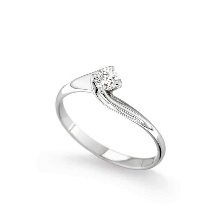 Inel de logodna din aur alb 18K cu diamant 0,20 ct, model Orsini 01033-20
