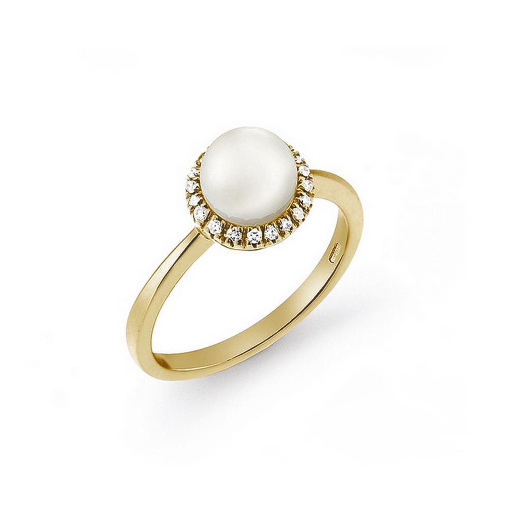 Inel de logodna din aur 18K cu perla Akoya si diamante 0,11 ct, model Orsini 2114G