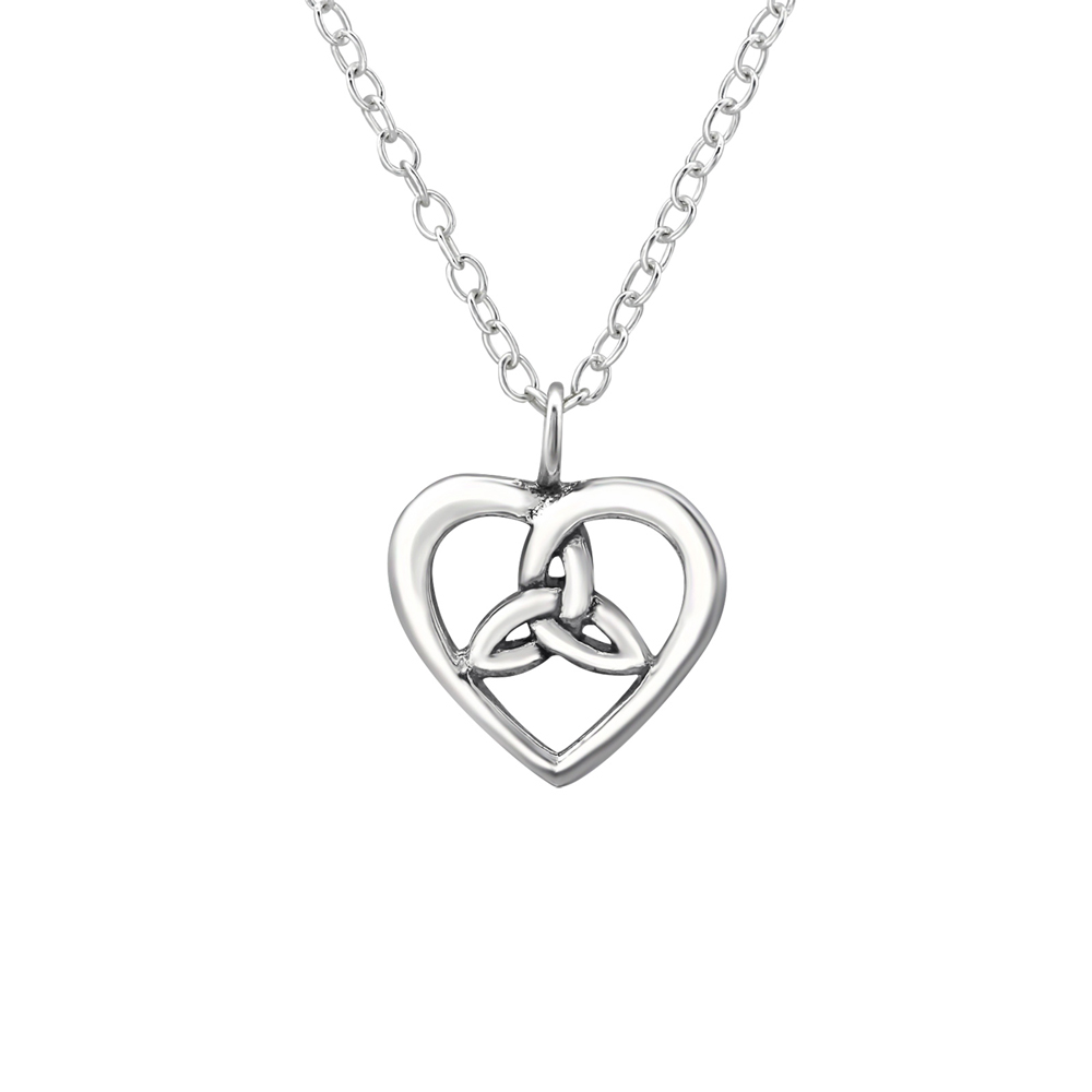 Lantisor din argint cu pandantiv inima celtica model DiAmanti DIA30869