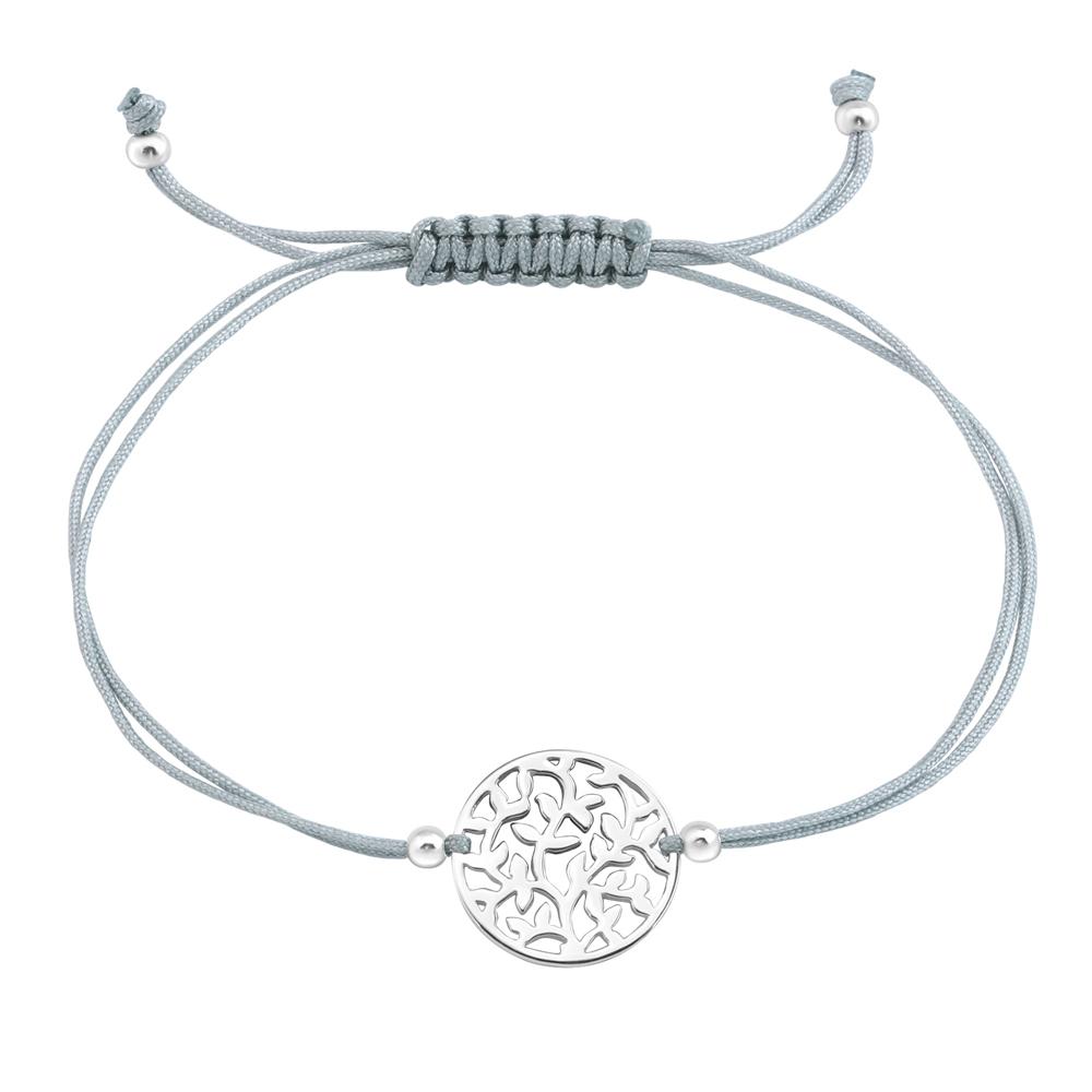 Bratara pe snur cu pandantiv cerc cu ramuri din argint model DiAmanti DIA33431