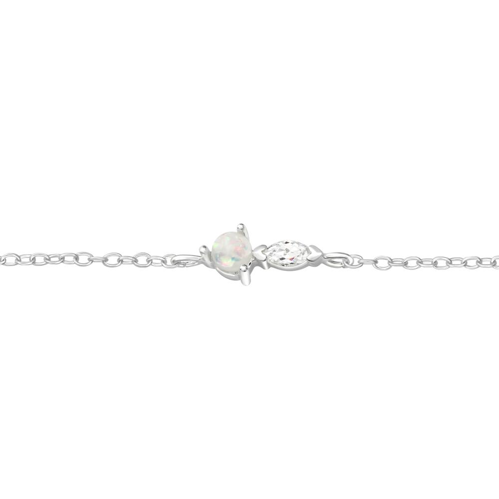 Bratara din argint cu pandantiv cu opal si zirconiu model DiAmanti DIA37551