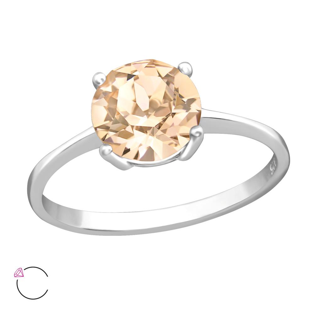 Inel de logodna din argint cu cristal Swarovski Peach model DiAmanti DIA38272