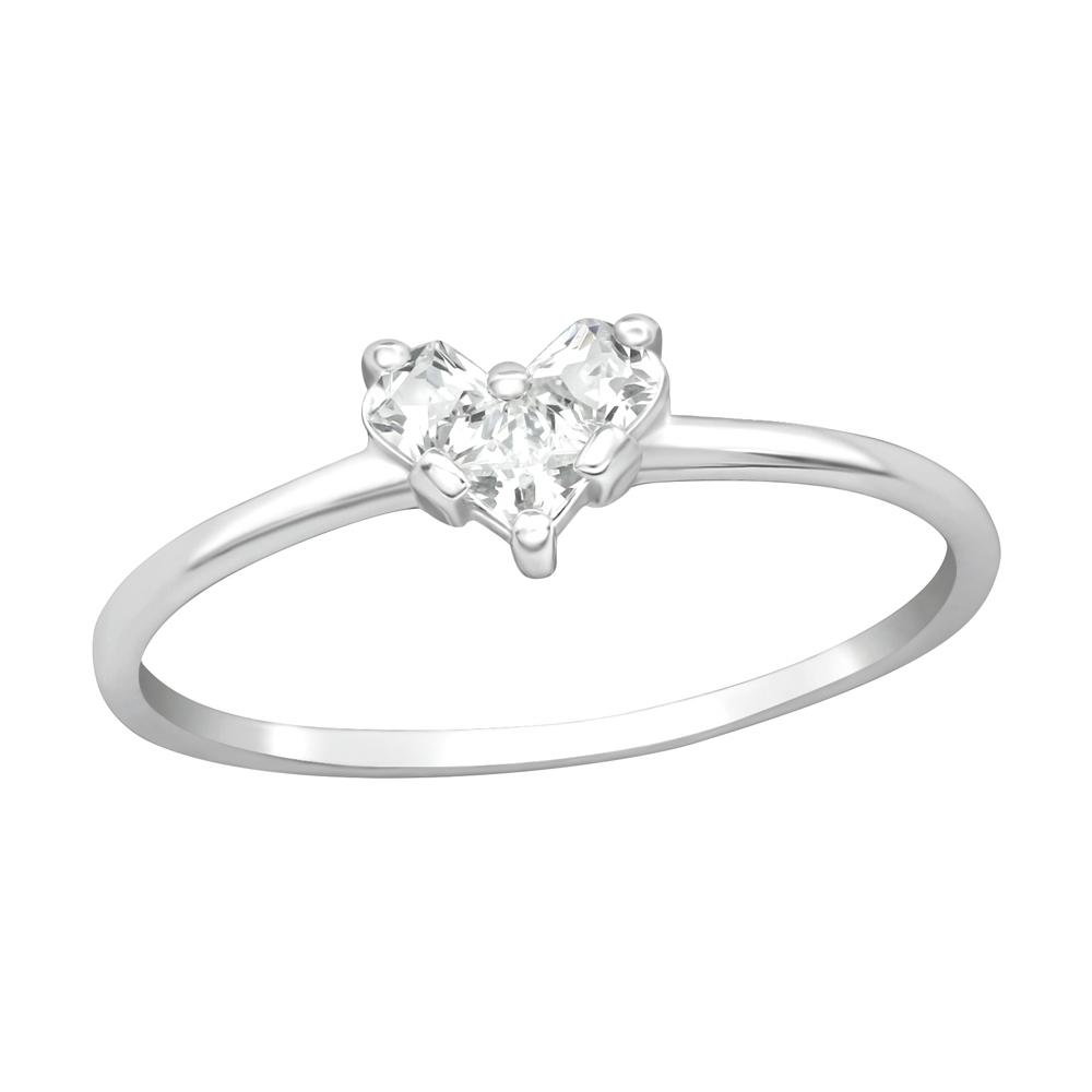Inel din argint cu zirconiu in forma de inima DiAmanti DIA38445