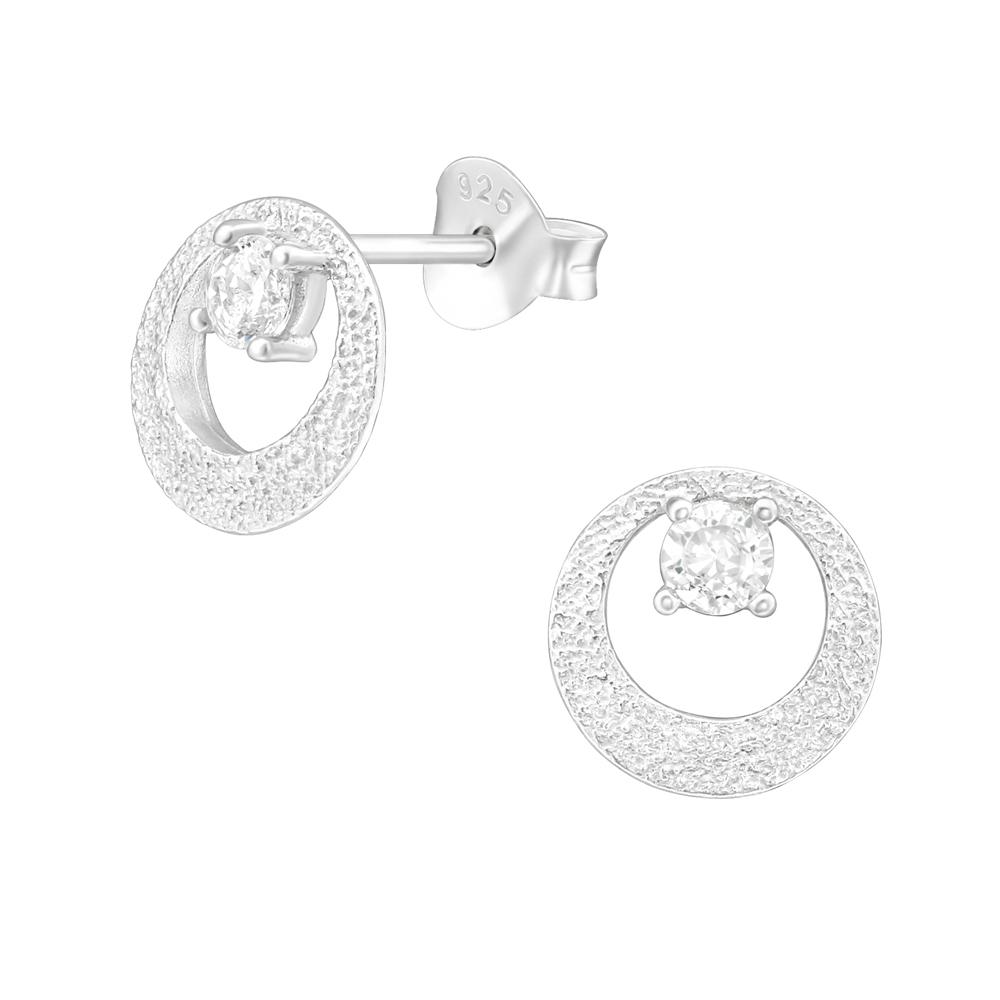 Cercei din argint in forma de cerc fatetat cu zirconii model DiAmanti DIA38813