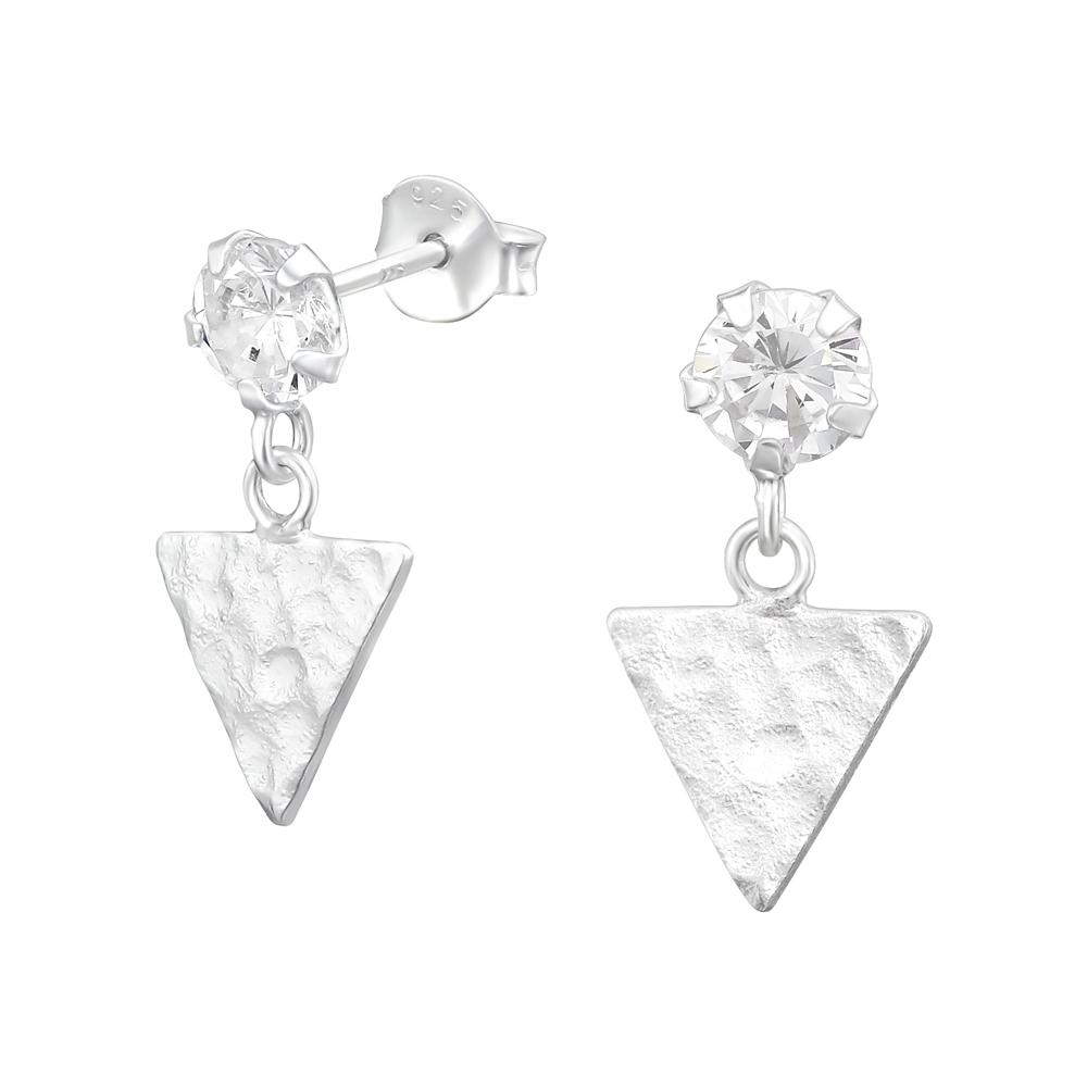 Cercei din argint in forma de triunghi cu zirconii model DiAmanti DIA39989