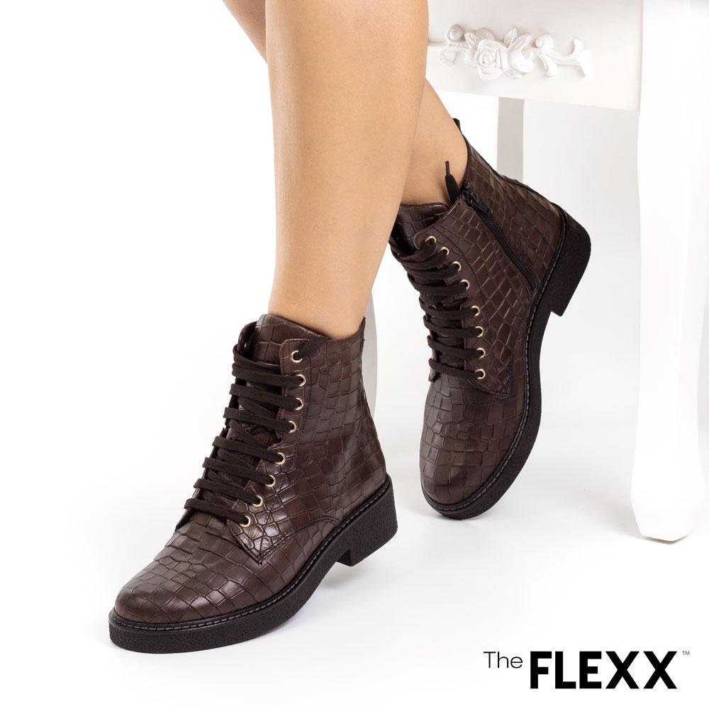 Ghete dama The Flexx din piele naturala Aretha Croco Dark Brown