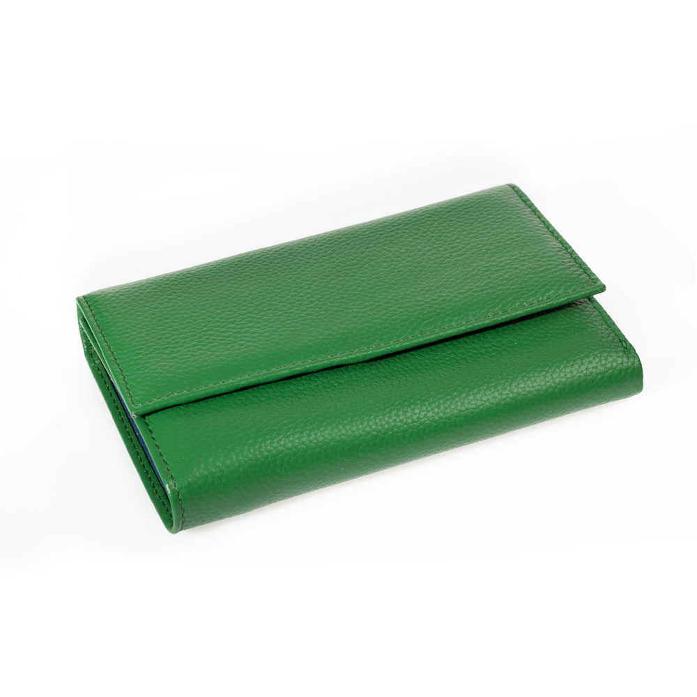 Portofel dama din piele naturala DiAmanti Cassai Verde D-8283