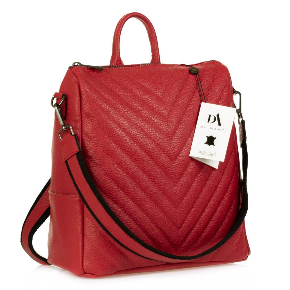 Rucsac tip geanta de dama din piele naturala DiAmanti Otello Rosso
