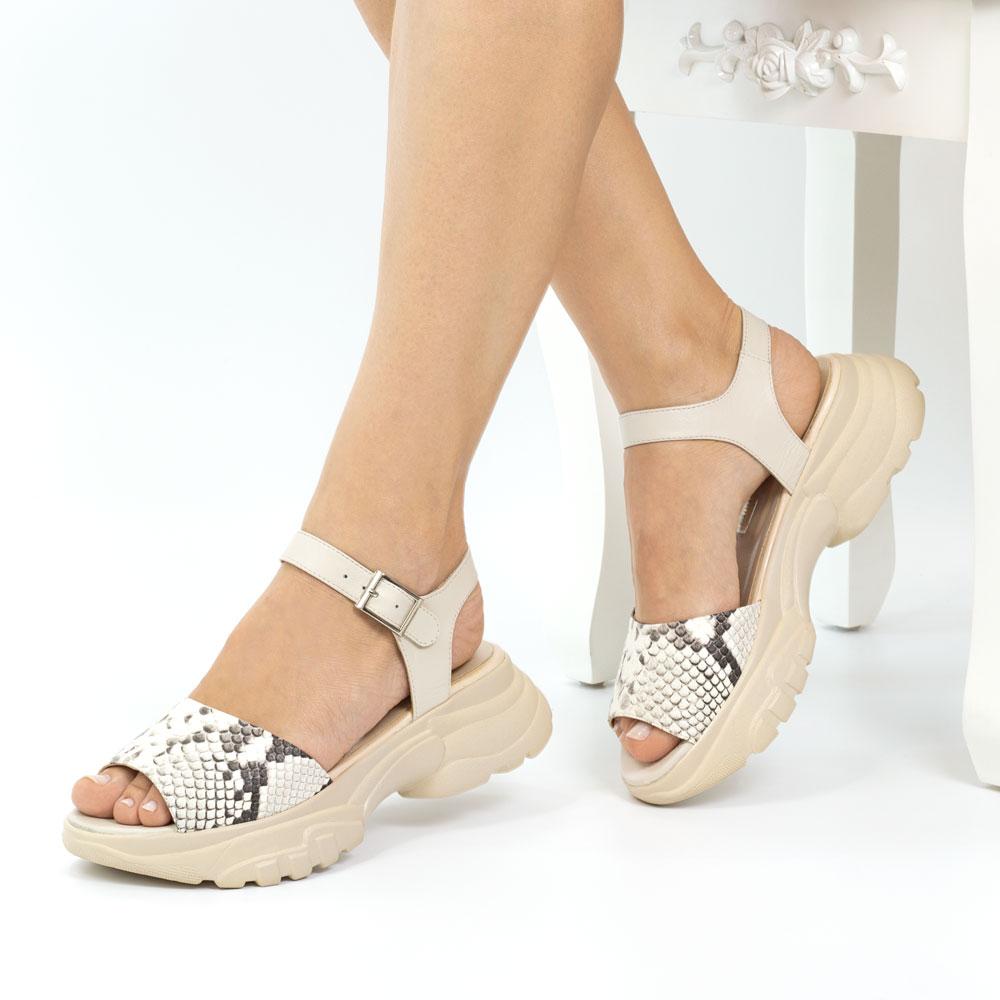 Sandale dama din piele naturala Ibiza bej