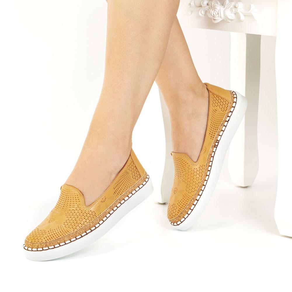Pantofi dama tip mocasini din piele naturala Alicante mustar