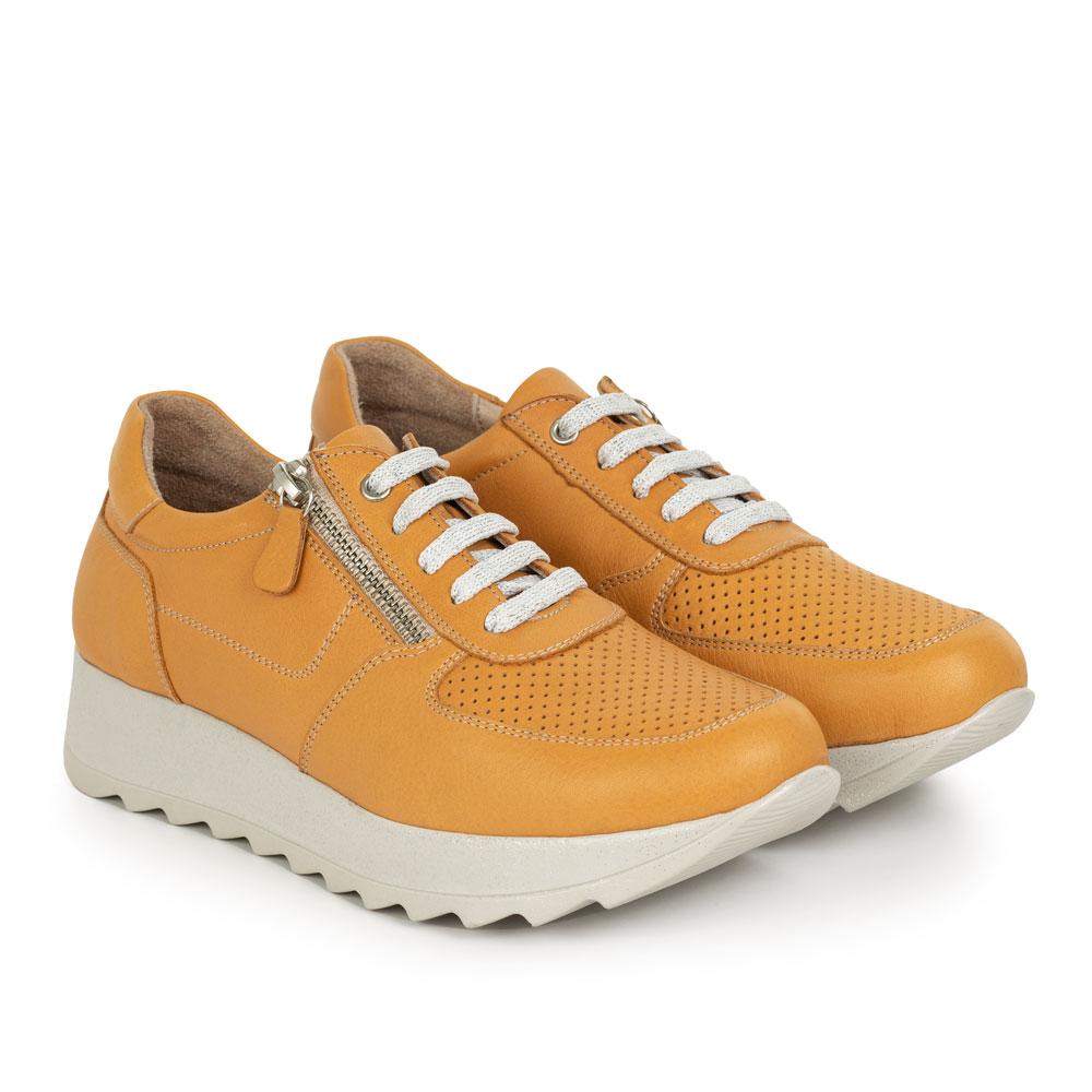 Pantofi sport de dama din piele naturala Faro galben inchis