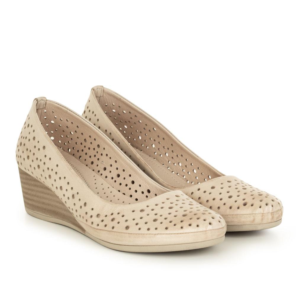 Pantofi office dama din piele naturala Reina taupe
