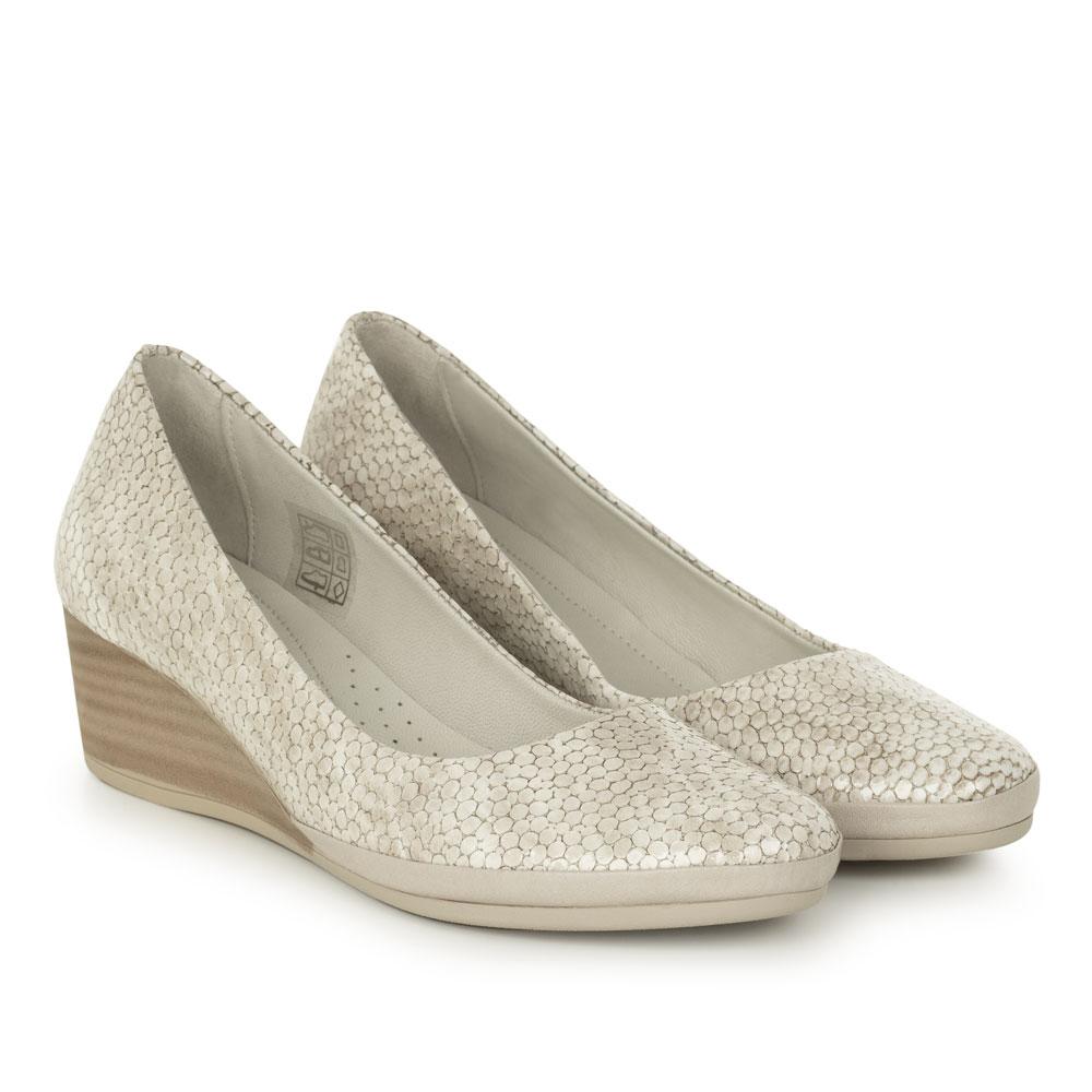 Pantofi office dama din piele naturala lacuita Cruz bej