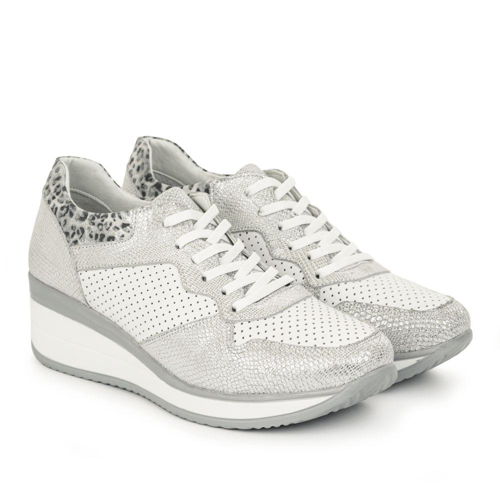 Pantofi sport de dama din piele naturala Julio alb