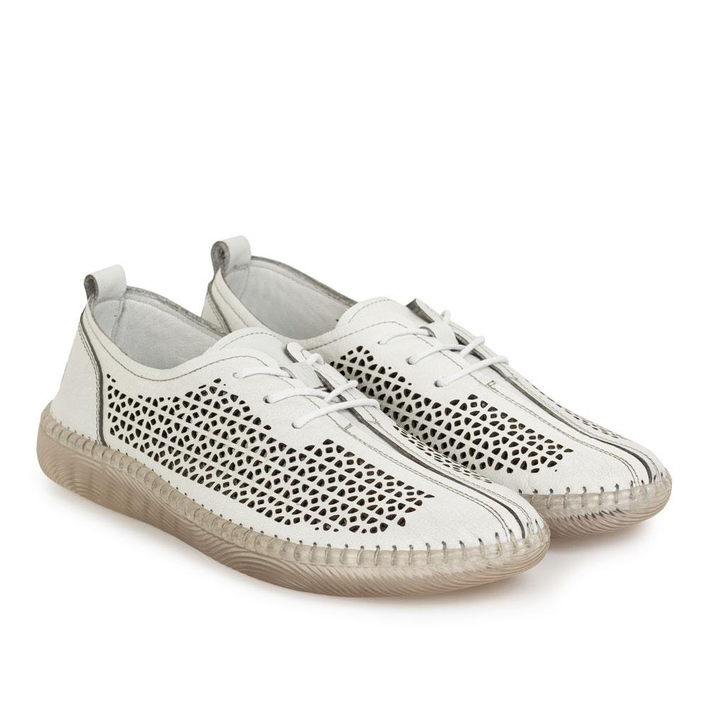 Pantofi dama din piele naturala Domingo alb