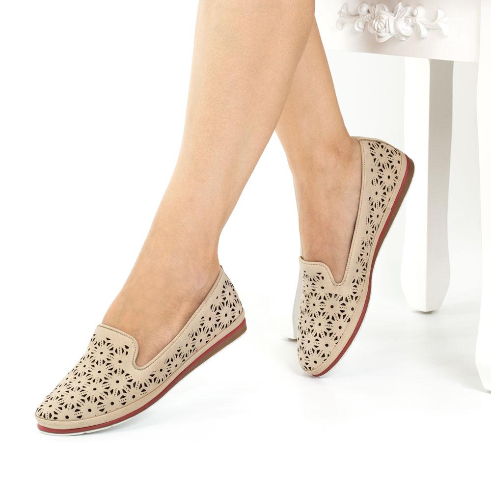 Pantofi casual dama din piele naturala Rosario taupe