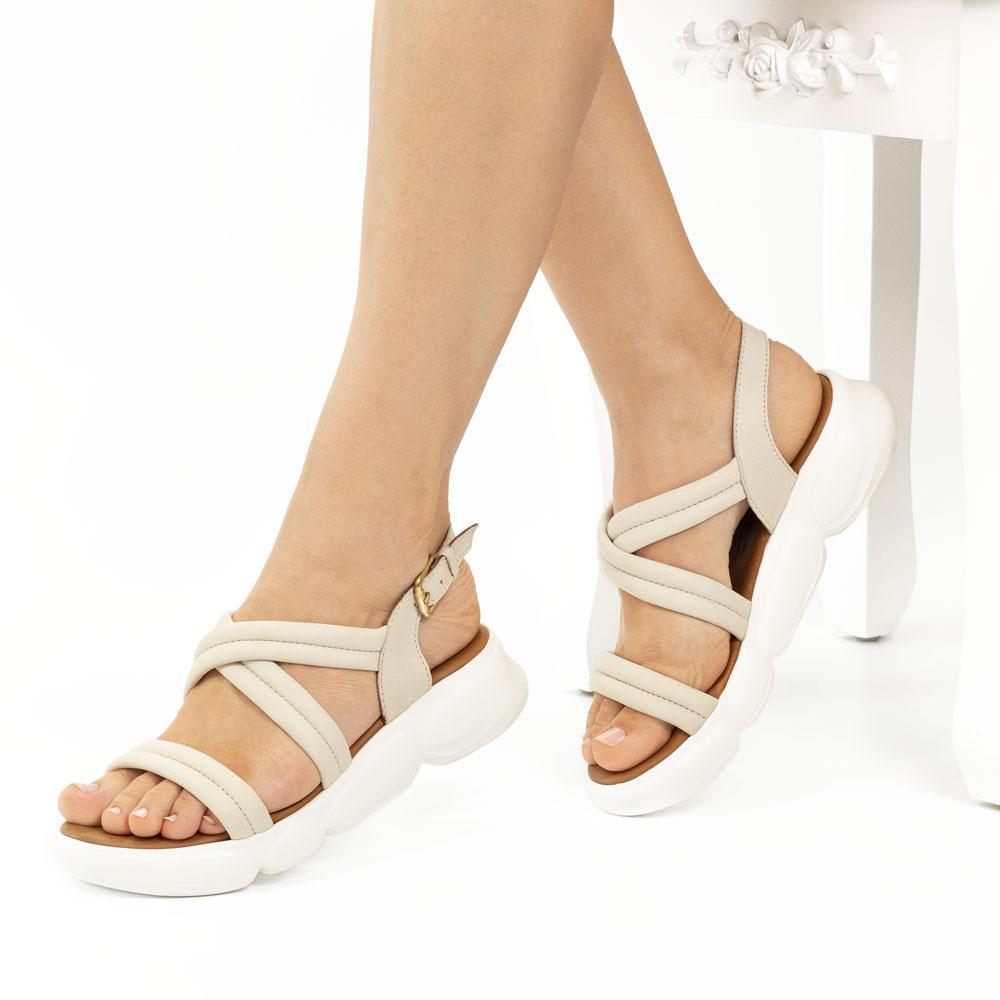 Sandale dama din piele naturala Amada bej