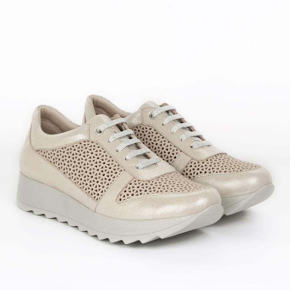 Pantofi sport de dama din piele naturala Prado auriu