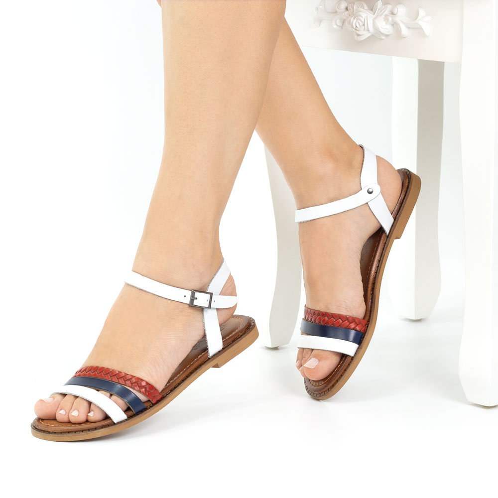 Sandale dama din piele naturala Lolita alb navy rosu