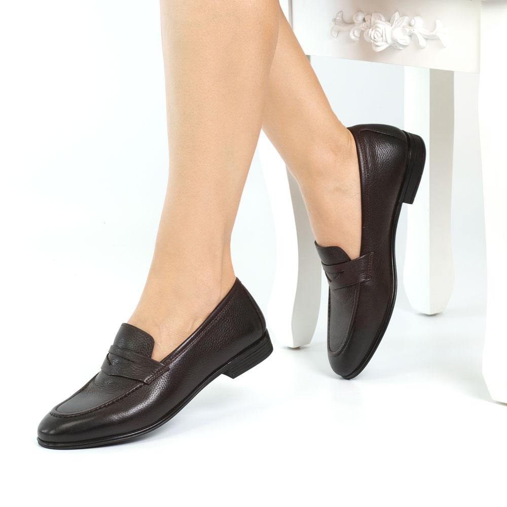 Pantofi office dama din piele naturala Ruben maro inchis