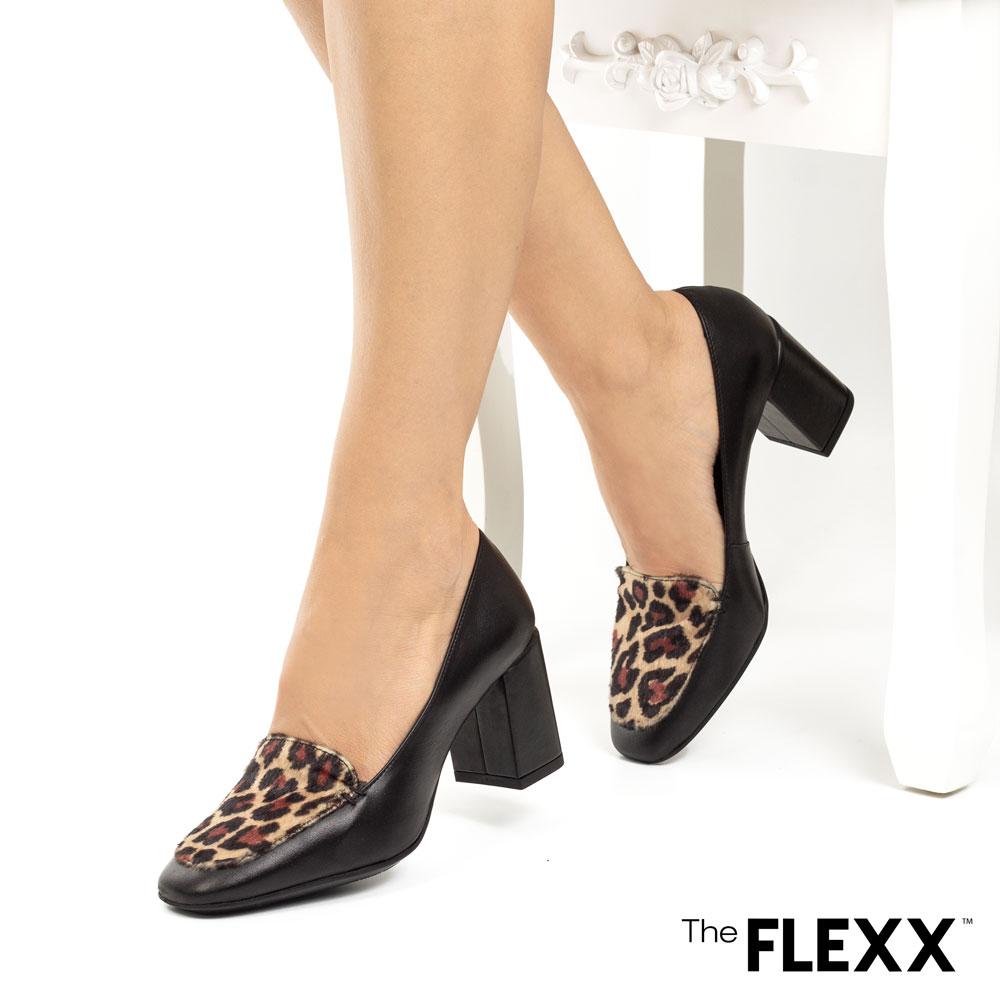 Pantofi office dama The Flexx din piele naturala Patricia negru animal print leopard