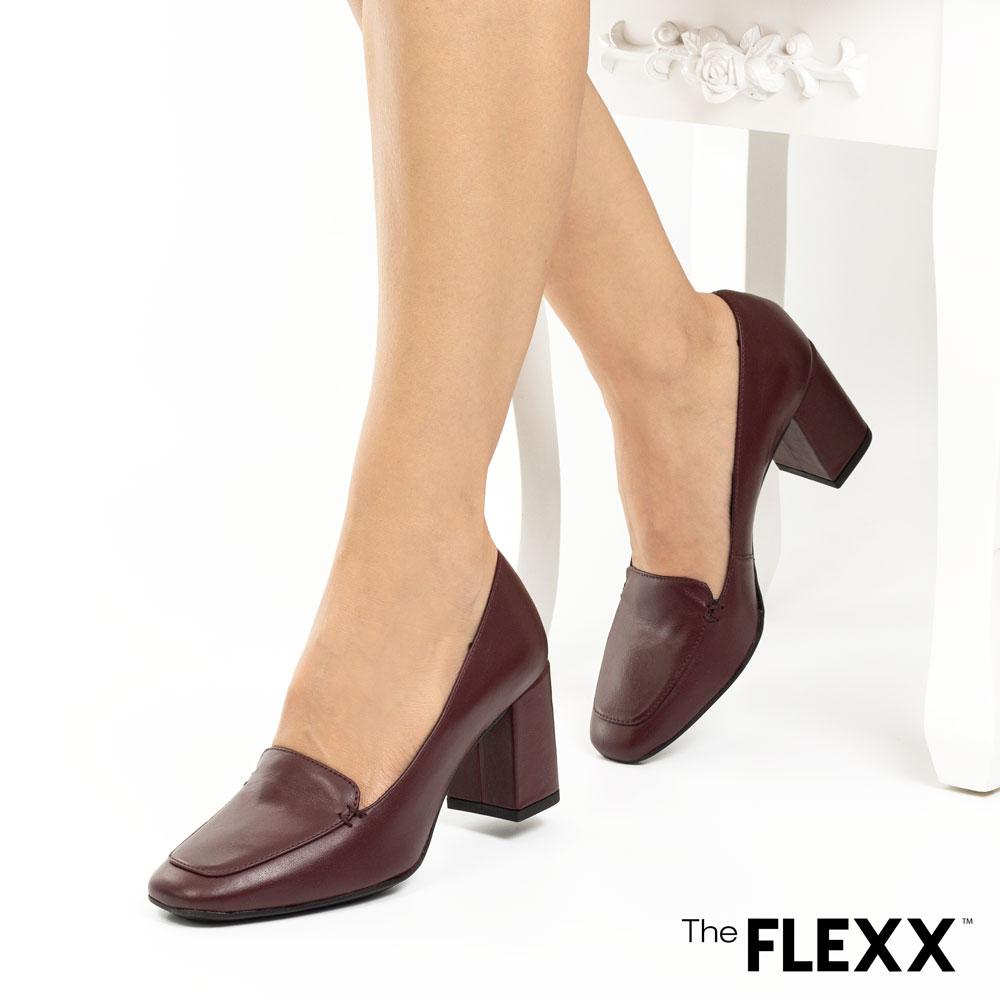 Pantofi office dama The Flexx din piele naturala Patricia bordo