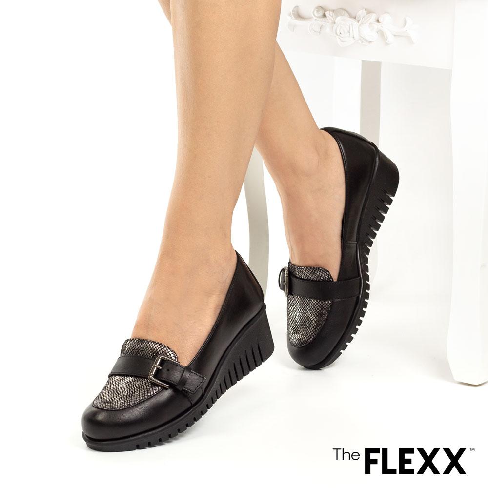 Pantofi dama The Flexx din piele naturala Audrey negru sarpe