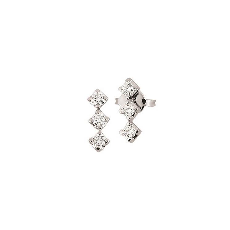 Cercei din aur alb 18K cu diamante 0,18 ct, model Orsini OR0185A-1