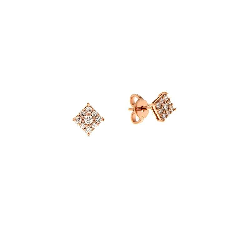 Cercei din aur roz 18K cu diamante 0,28 ct, model Orsini OR0620P
