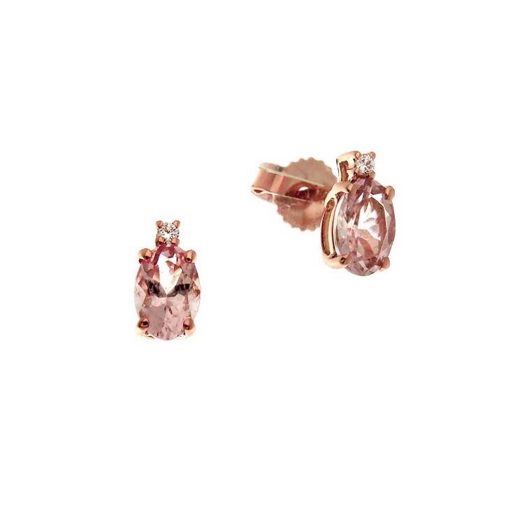 Cercei din aur roz 18K cu morganit 0,80 ct si diamante 0,02 ct, model Orsini OR0586-M4X6