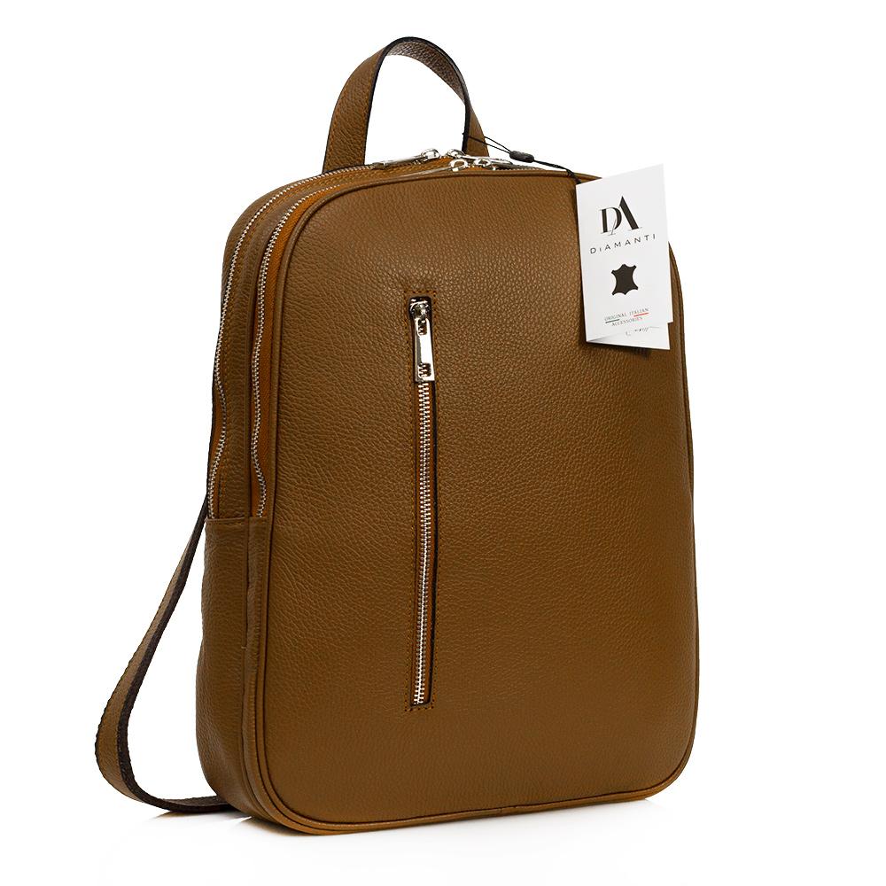 Rucsac laptop 14 inch din piele naturala DiAmanti Rovereto Cuoio