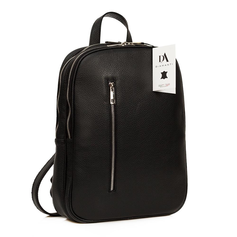 Rucsac laptop 14 inch din piele naturala DiAmanti Rovereto Nero